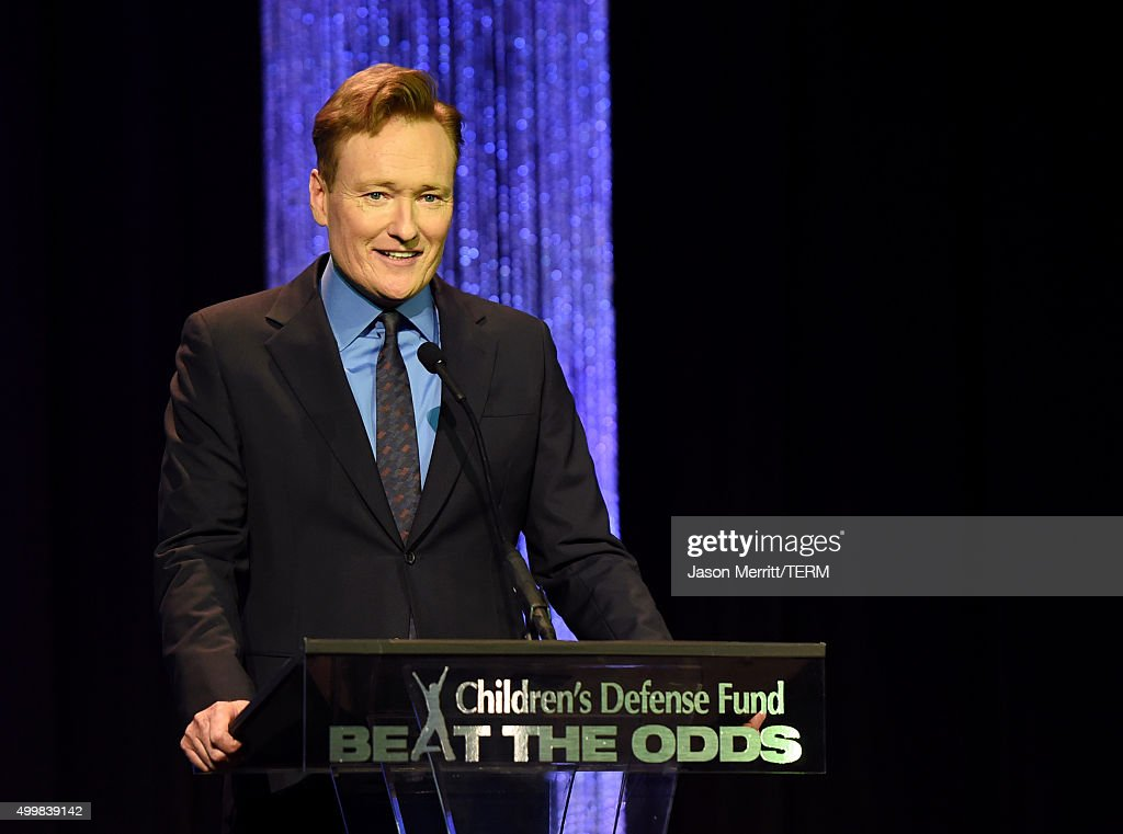Host <a gi-track='captionPersonalityLinkClicked' href=/galleries/search?phrase=Conan+O%27Brien&family=editorial&specificpeople=208095 ng-click='$event.stopPropagation()'>Conan O'Brien</a> speaks onstage at the 25th Annual Children's Defense Fund Beat The Odds Awards at the Beverly Wilshire Four Seasons Hotel on December 3, 2015 in Beverly Hills, California.