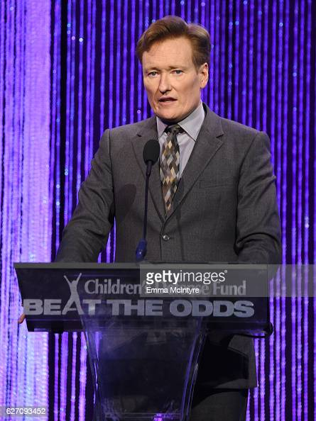 Host Conan O'Brien speaks onstage during the 26th Annual Beat The Odds Awards hosted by Children's Defense Fund California at Regent Beverly Wilshire...