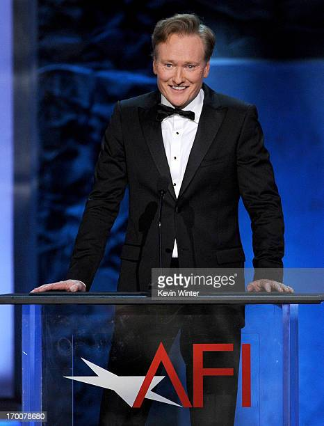 Host Conan O'Brien speaks onstage during the 41st AFI Life Achievement Award Honoring Mel Brooks at Dolby Theatre on June 6 2013 in Hollywood...