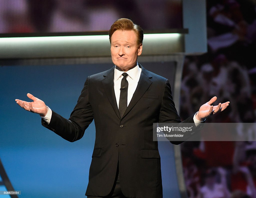 Host <a gi-track='captionPersonalityLinkClicked' href=/galleries/search?phrase=Conan+O%27Brien&family=editorial&specificpeople=208095 ng-click='$event.stopPropagation()'>Conan O'Brien</a> speaks onstage during the 5th Annual NFL Honors at Bill Graham Civic Auditorium on February 6, 2016 in San Francisco, California.