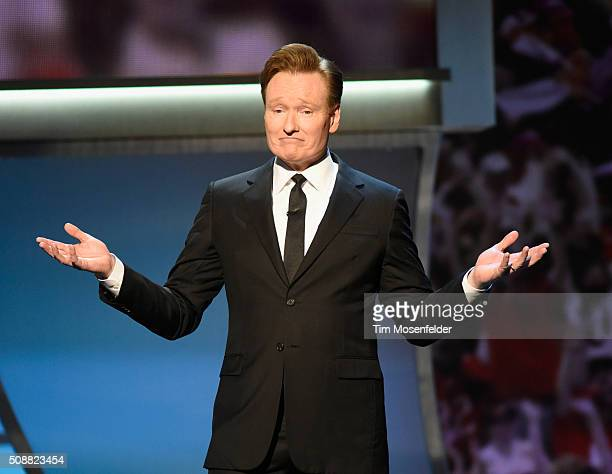 Host Conan O'Brien speaks onstage during the 5th Annual NFL Honors at Bill Graham Civic Auditorium on February 6 2016 in San Francisco California
