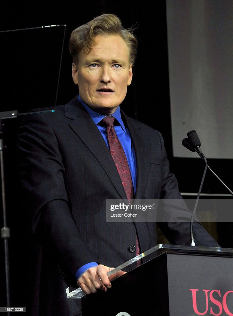 Host <a gi-track='captionPersonalityLinkClicked' href=/galleries/search?phrase=Conan+O%27Brien&family=editorial&specificpeople=208095 ng-click='$event.stopPropagation()'>Conan O'Brien</a> speaks onstage during USC Shoah Foundation's 20th Anniversary Gala at the Hyatt Regency Century Plaza on May 7, 2014 in Century City, California.