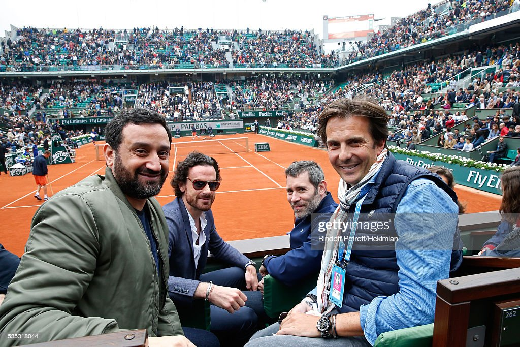 TV Host Cyril Hanouna, actual Mayor of Paris Cabinet Director, Mathias Vicherat, actor <a gi-track='captionPersonalityLinkClicked' href=/galleries/search?phrase=Jalil+Lespert&family=editorial&specificpeople=2559583 ng-click='$event.stopPropagation()'>Jalil Lespert</a> and Businessman Yannick Bollore attend Day Height of the 2016 French Tennis Open at Roland Garros on May 29, 2016 in Paris, France.
