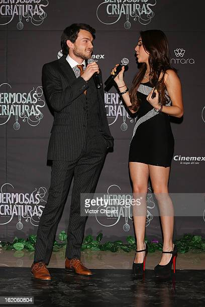 Host Danna Paola interviews actor Alden Ehrenreich during the 'Beautiful Creatures' Mexico City premiere at Cinemex Antara on February 18 2013 in...