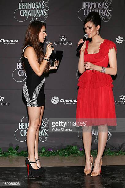 Host Danna Paola interviews actress Emmy Rossum during the 'Beautiful Creatures' Mexico City premiere at Cinemex Antara on February 18 2013 in Mexico...
