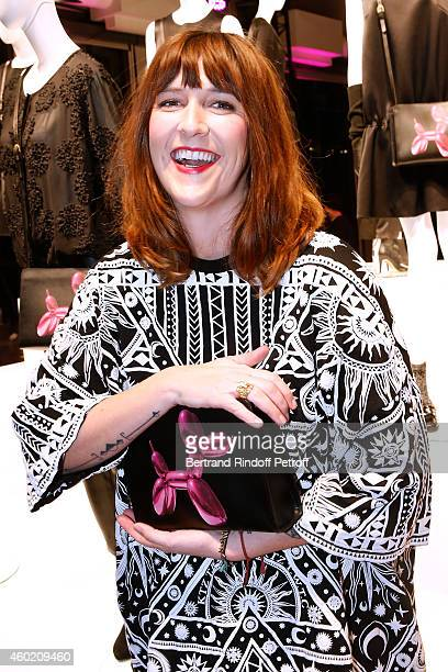 Host Daphne Burki attends the Handbag Jeff Koons Presentation during the 'Fashion Loves Art' Cocktail Event hosted by HM on December 9 2014 in Paris...