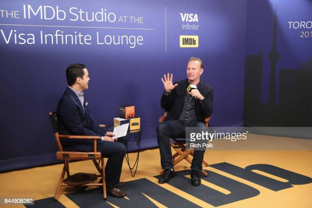 Host Dave Karger and Documentary Filmmaker Morgan Spurlock of 'Super Size Me 2 Holy Chicken' attend The IMDb Studio Hosted By The Visa Infinite...