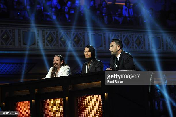 Host Dave Navarro flanked by judges Oliver Peck and Chris Nunez at 'Ink Master' Season Five Live Finale at Manhattan Center Grand Ballroom on...
