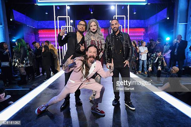 Host Dave Navarro judge Oliver Peck Season 8 winner of 'Ink Master' Ryan Ashley and judge Chris Nunez pose onstage during 'Ink Master' Season 8 Live...