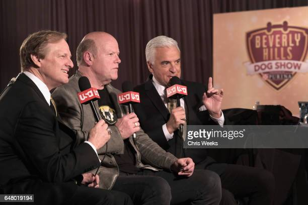 Host David Frei actor Rex Linn and Host John O'Hurley at the Annual Kennel Club of Beverly Hills Dog Show at Pomona Fairplex on March 4 2017 in...