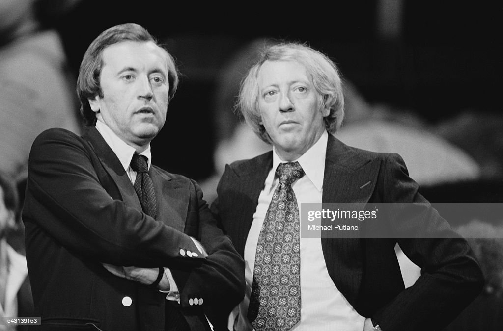 Host David Frost and Australian music impresario Robert Stigwood at 'The Music for UNICEF Concert A Gift of Song' benefit concert held at the United...