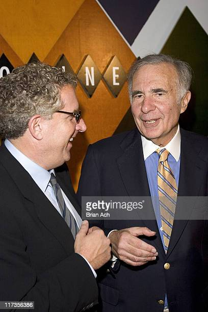 Host David Moore and financier Carl Icahn at David Moore's 'Funny Business Show' at the 2nd Annual NY Comedy Festival at Caroline's on Broadway NYC