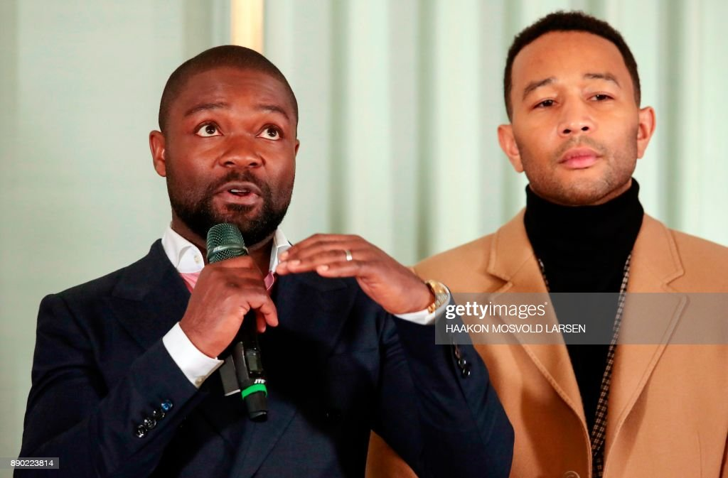Host David Oyelowo and US singer John Legend give a press conference at the Norwegian Nobel Institute in Oslo, Norway, December 11, 2017, before performing the Nobel Peace Prize Concert later.
