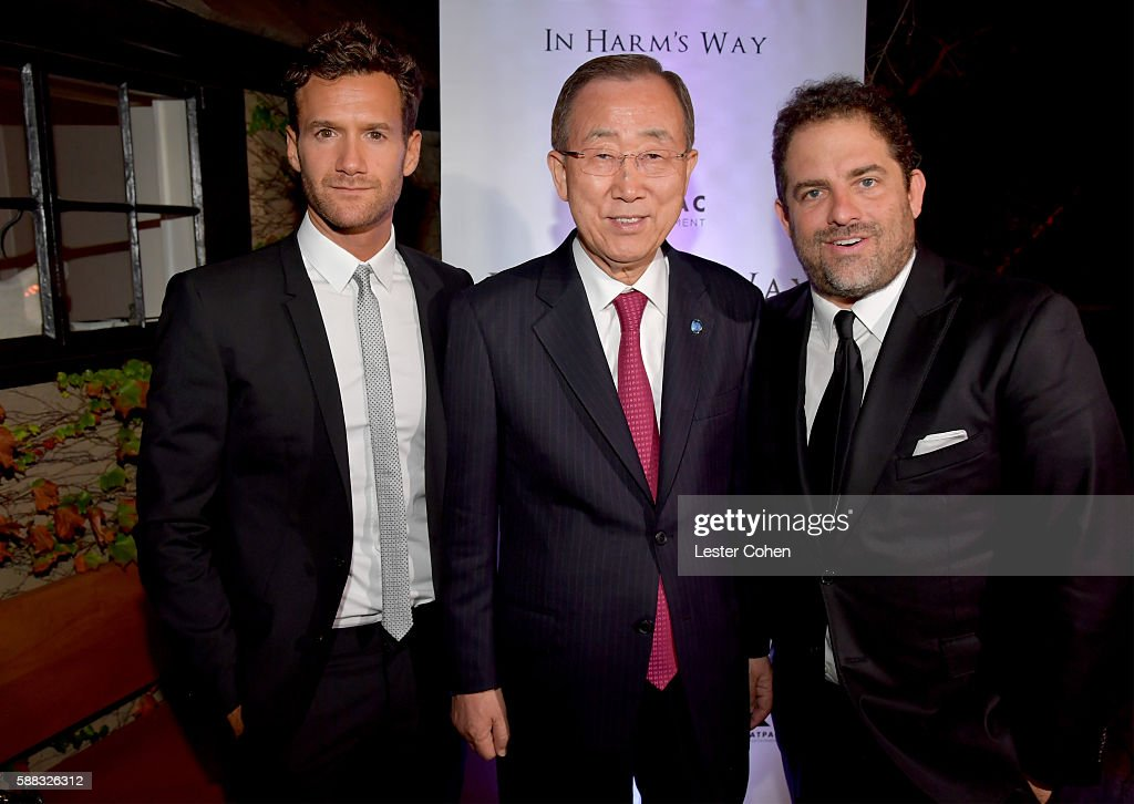 Host David Raymond, UN Secretary-General Ban Ki-moon, and host Brett Ratner attend the special event for UN Secretary-General Ban Ki-moon hosted by Brett Ratner and David Raymond at Hilhaven Lodge on August 10, 2016 in Los Angeles, California.