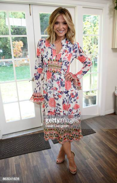 Host Debbie Matenopoulos poses at Hallmark's 'Home Family' at Universal Studios Hollywood on October 18 2017 in Universal City California