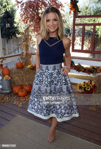 Host Debbie Matenopoulos poses at Hallmark's 'Home Family' at Universal Studios Hollywood on October 26 2017 in Universal City California