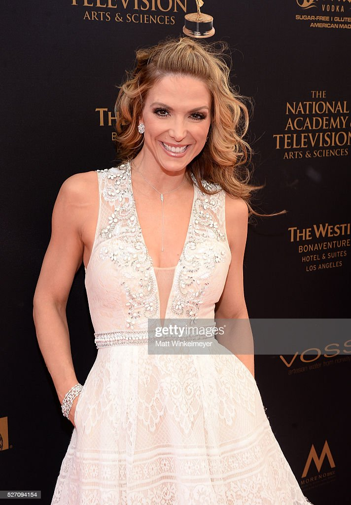 TV Host <a gi-track='captionPersonalityLinkClicked' href=/galleries/search?phrase=Debbie+Matenopoulos&family=editorial&specificpeople=221626 ng-click='$event.stopPropagation()'>Debbie Matenopoulos</a> walks the red carpet at the 43rd Annual Daytime Emmy Awards at the Westin Bonaventure Hotel on May 1, 2016 in Los Angeles, California.