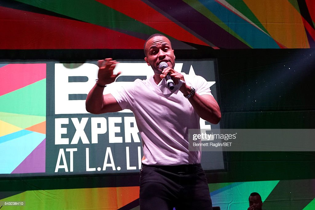 Host <a gi-track='captionPersonalityLinkClicked' href=/galleries/search?phrase=DeVon+Franklin&family=editorial&specificpeople=7590117 ng-click='$event.stopPropagation()'>DeVon Franklin</a> speaks on the BETX stage during the 2016 BET Experience on June 26, 2016 in Los Angeles, California.