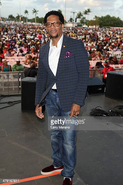 Host DL Hughley attends Day 2 of Jazz In The Gardens at Sun Life Stadium on March 16 2014 in Miami Gardens Florida