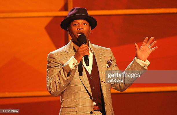 Host DL Hughley on stage during the 2008 BET Awards at the Shrine Auditorium on June 24 2008 in Los Angeles California