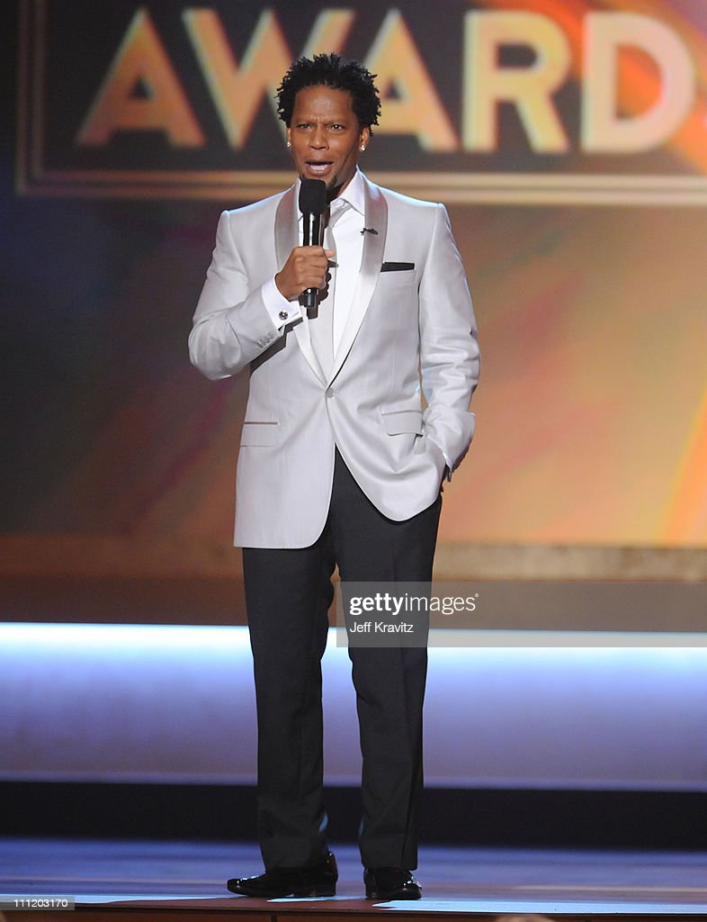 Host DL Hughley onstage at the 13th ANNUAL CRITICS' CHOICE AWARDS at the Santa Monica Civic Auditorium on January 7 2008 in Santa Monica California