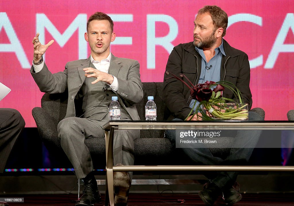 Host <a gi-track='captionPersonalityLinkClicked' href=/galleries/search?phrase=Dominic+Monaghan&family=editorial&specificpeople=209279 ng-click='$event.stopPropagation()'>Dominic Monaghan</a> (L) and Producer Paul Kilback speak onstage at the 'Wild Things with <a gi-track='captionPersonalityLinkClicked' href=/galleries/search?phrase=Dominic+Monaghan&family=editorial&specificpeople=209279 ng-click='$event.stopPropagation()'>Dominic Monaghan</a>' panel discussion during the BBC America portion of the 2013 Winter TCA Tour- Day 2 at Langham Hotel on January 5, 2013 in Pasadena, California.