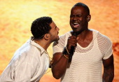 Host Drake and singer Brian McKnight perform onstage during the 2014 ESPYS at Nokia Theatre LA Live on July 16 2014 in Los Angeles California