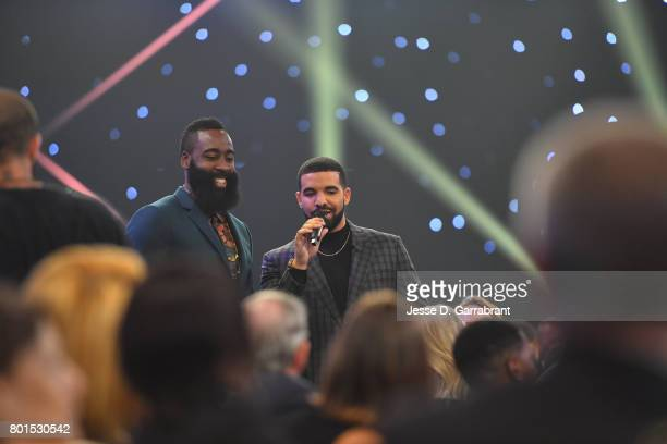Host Drake interviews James Harden of the Houston Rockets during the 2017 NBA Awards Show on June 26 2017 at Basketball City in New York City NOTE TO...