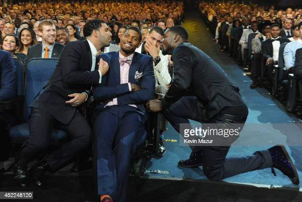 Host Drake NBA players Paul George and Lance Stephenson during The 2014 ESPY Awards at Nokia Theatre LA Live on July 16 2014 in Los Angeles California