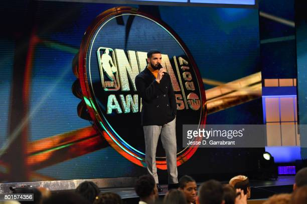 Host Drake speaks during the 2017 NBA Awards Show on June 26 2017 at Basketball City in New York City NOTE TO USER User expressly acknowledges and...