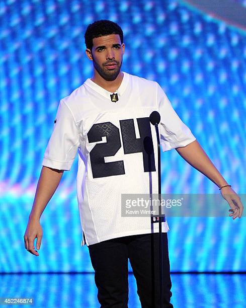 Host Drake speaks onstage during the 2014 ESPYS at Nokia Theatre LA Live on July 16 2014 in Los Angeles California