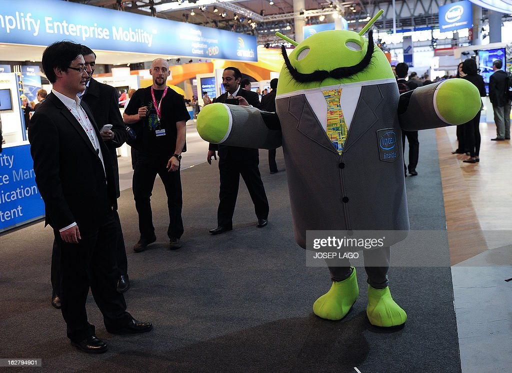 A host dressed up as an Android operating system character greets visitors at the 2013 Mobile World Congress in Barcelona on February 27, 2013. The 2013 Mobile World Congress, the world's biggest mobile fair, is held from February 25 to 28 in Barcelona.