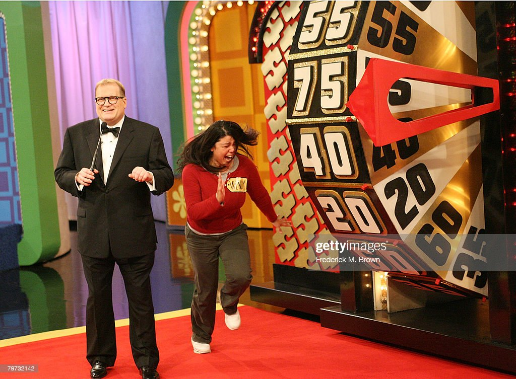 Host Drew Carey and a contestant celebrate during 'The Price is Right' Million Dollar spectacular taping at CBS Television City on February 12 2008...