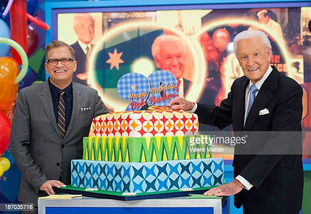 Host Drew Carey and Bob Barker attend CBS' 'The Price Is Right' Celebrates Bob Barker's 90th Birthday at CBS Television City on November 5 2013 in...