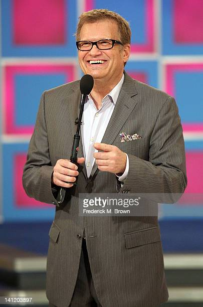 Host Drew Carey speaks during CBS' 'The Bold and the Beautiful' Showcase on 'The Price Is Right' television show on March 12 2012 in Los Angeles...