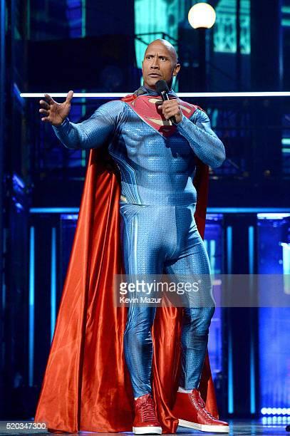 Host Dwayne Johnson speaks onstage during the 2016 MTV Movie Awards at Warner Bros Studios on April 9 2016 in Burbank California MTV Movie Awards...