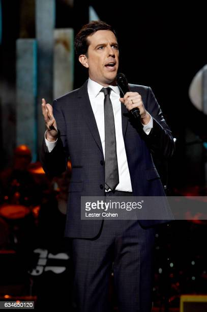 Host Ed Helms speaks onstage during MusiCares Person of the Year honoring Tom Petty at the Los Angeles Convention Center on February 10 2017 in Los...