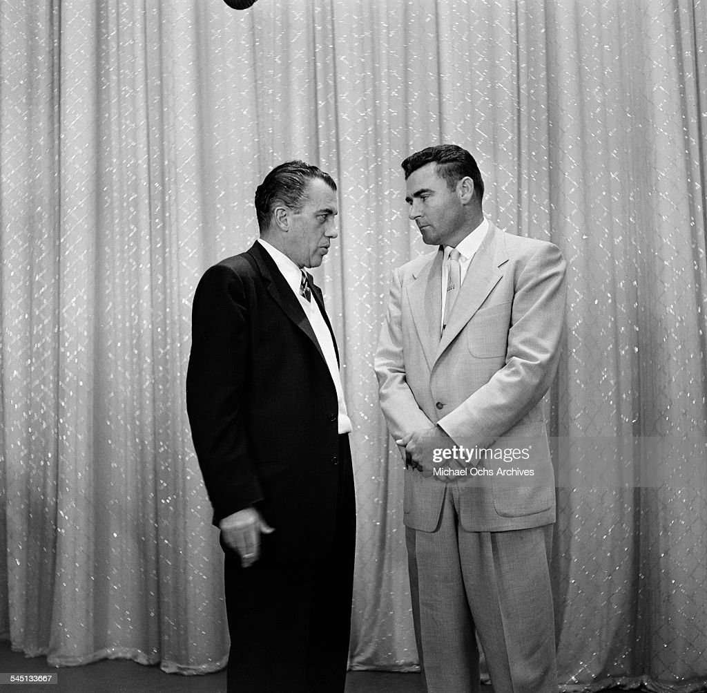 Host <a gi-track='captionPersonalityLinkClicked' href=/galleries/search?phrase=Ed+Sullivan&family=editorial&specificpeople=93327 ng-click='$event.stopPropagation()'>Ed Sullivan</a> talks with boxer <a gi-track='captionPersonalityLinkClicked' href=/galleries/search?phrase=Jack+Dempsey+-+Boxer&family=editorial&specificpeople=15348667 ng-click='$event.stopPropagation()'>Jack Dempsey</a> during 'Toast of the Town' show hosted by <a gi-track='captionPersonalityLinkClicked' href=/galleries/search?phrase=Ed+Sullivan&family=editorial&specificpeople=93327 ng-click='$event.stopPropagation()'>Ed Sullivan</a> at the Maxine Elliott Theater in New York, New York.