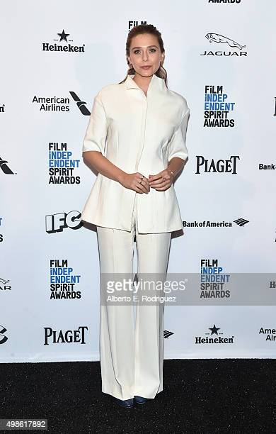 Host Elizabeth Olsen attends the 31st Film Independent Spirit Awards Nominations Press Conference at W Hollywood on November 24 2015 in Hollywood...