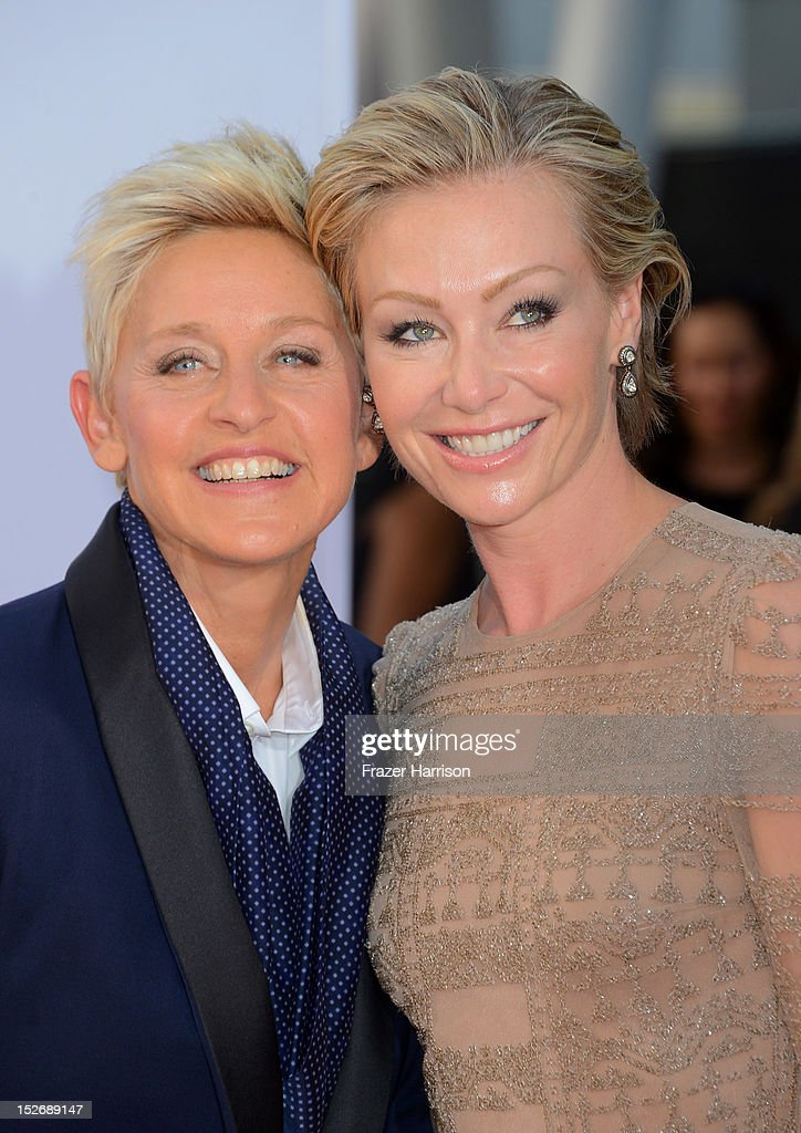 TV host <a gi-track='captionPersonalityLinkClicked' href=/galleries/search?phrase=Ellen+DeGeneres&family=editorial&specificpeople=171367 ng-click='$event.stopPropagation()'>Ellen DeGeneres</a> (L) and wife <a gi-track='captionPersonalityLinkClicked' href=/galleries/search?phrase=Portia+de+Rossi&family=editorial&specificpeople=204197 ng-click='$event.stopPropagation()'>Portia de Rossi</a> arrive at the 64th Annual Primetime Emmy Awards at Nokia Theatre L.A. Live on September 23, 2012 in Los Angeles, California.