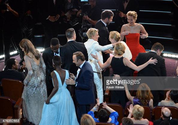 Host Ellen DeGeneres in the audience with Lupita Nyong'o Brad Pitt Angelina Jolie Jennifer Lawrence Julia Roberts Meryl Streep Bradley Cooper and...