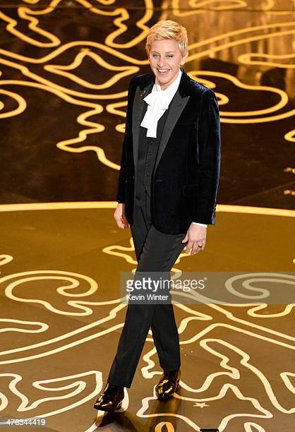 Host Ellen DeGeneres speaks onstage during the Oscars at the Dolby Theatre on March 2 2014 in Hollywood California