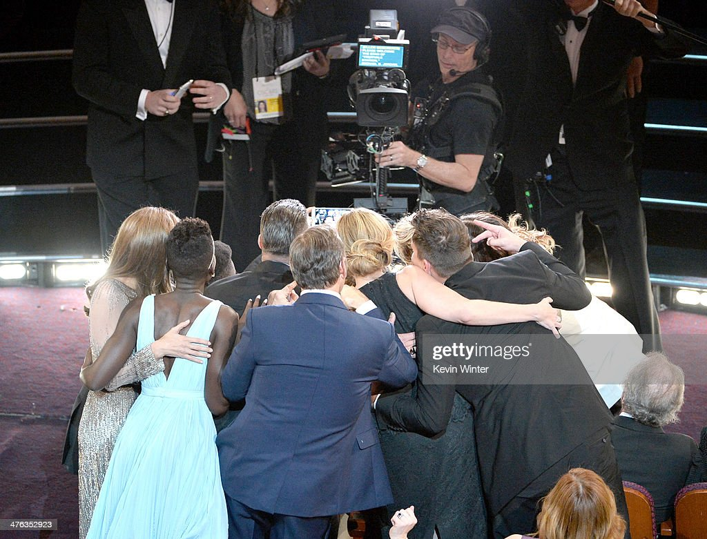 Host <a gi-track='captionPersonalityLinkClicked' href=/galleries/search?phrase=Ellen+DeGeneres&family=editorial&specificpeople=171367 ng-click='$event.stopPropagation()'>Ellen DeGeneres</a> takes the all-star selfie Twitter Pic that broke Twitter with <a gi-track='captionPersonalityLinkClicked' href=/galleries/search?phrase=Lupita+Nyong%27o&family=editorial&specificpeople=10961876 ng-click='$event.stopPropagation()'>Lupita Nyong'o</a>, <a gi-track='captionPersonalityLinkClicked' href=/galleries/search?phrase=Brad+Pitt+-+Actor&family=editorial&specificpeople=201682 ng-click='$event.stopPropagation()'>Brad Pitt</a>, <a gi-track='captionPersonalityLinkClicked' href=/galleries/search?phrase=Angelina+Jolie&family=editorial&specificpeople=201591 ng-click='$event.stopPropagation()'>Angelina Jolie</a>, <a gi-track='captionPersonalityLinkClicked' href=/galleries/search?phrase=Jennifer+Lawrence&family=editorial&specificpeople=1596040 ng-click='$event.stopPropagation()'>Jennifer Lawrence</a>, <a gi-track='captionPersonalityLinkClicked' href=/galleries/search?phrase=Julia+Roberts&family=editorial&specificpeople=202605 ng-click='$event.stopPropagation()'>Julia Roberts</a>, <a gi-track='captionPersonalityLinkClicked' href=/galleries/search?phrase=Meryl+Streep&family=editorial&specificpeople=171097 ng-click='$event.stopPropagation()'>Meryl Streep</a>, <a gi-track='captionPersonalityLinkClicked' href=/galleries/search?phrase=Bradley+Cooper&family=editorial&specificpeople=680224 ng-click='$event.stopPropagation()'>Bradley Cooper</a> and <a gi-track='captionPersonalityLinkClicked' href=/galleries/search?phrase=Kevin+Spacey&family=editorial&specificpeople=202091 ng-click='$event.stopPropagation()'>Kevin Spacey</a> in the audience during the Oscars at the Dolby Theatre on March 2, 2014 in Hollywood, California.