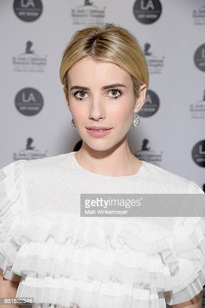 Host Emma Roberts attends the LA Art Show 2017 at Los Angeles Convention Center on January 11 2017 in Los Angeles California