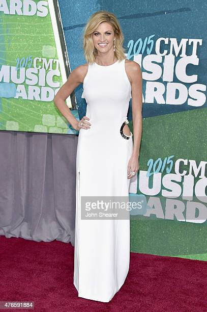 Host Erin Andrews attends the 2015 CMT Music awards at the Bridgestone Arena on June 10 2015 in Nashville Tennessee