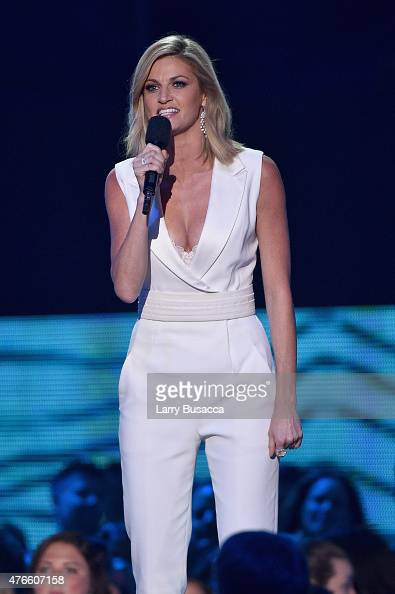 Host Erin Andrews speaks onstage during the 2015 CMT Music awards at the Bridgestone Arena on June 10 2015 in Nashville Tennessee