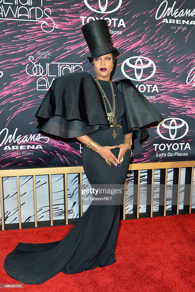 Host Erykah Badu attends the 2015 Soul Train Music Awards at the Orleans Arena on November 6 2015 in Las Vegas Nevada