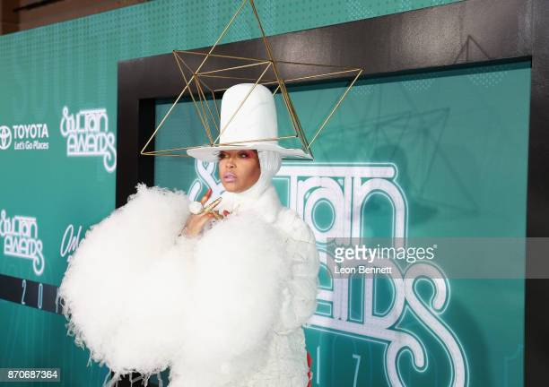 Host Erykah Badu attends the 2017 Soul Train Awards presented by BET at the Orleans Arena on November 5 2017 in Las Vegas Nevada