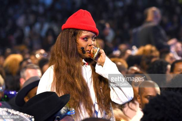 Host Erykah Badu speaks during the 2017 Soul Train Awards presented by BET at the Orleans Arena on November 5 2017 in Las Vegas Nevada