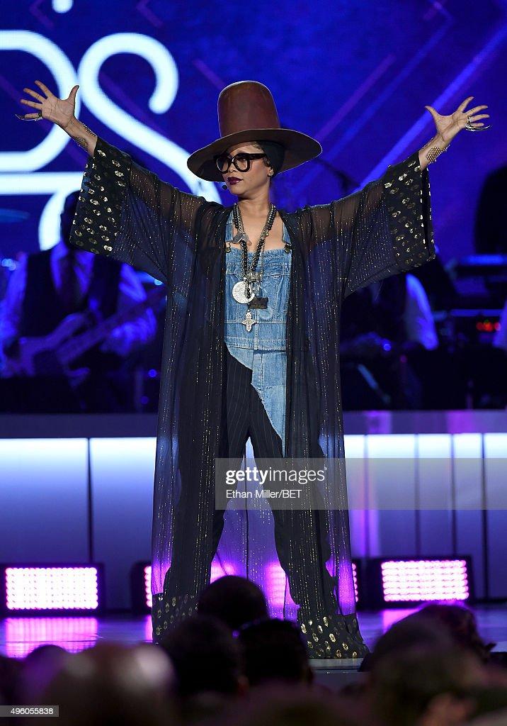 Host Erykah Badu speaks onstage during the 2015 Soul Train Music Awards at the Orleans Arena on November 6 2015 in Las Vegas Nevada